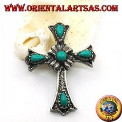 Ciondolo in argento croce con quattro turchesi a goccia e uno tondo centrale