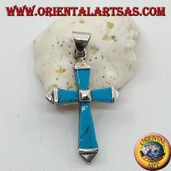 Серебряный крестик с бирюзовыми вставками и серебряной структурой
