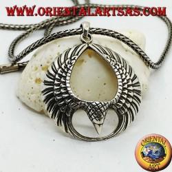 Pendentif en argent aigle en vol avec ailes ouvertes en cercle