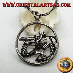 Silver dragon pendant in the circle (large)