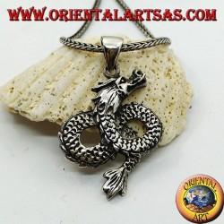 Ciondolo in argento drago intrecciato ad infinito