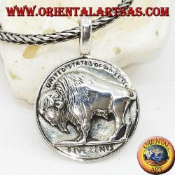 "Ciondolo in argento, bisonte su moneta americana 5 cent ""united states of America"""
