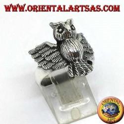 Silberring mit ganzer Eule mit offenen Flügeln