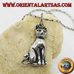 Silver pendant cat posing