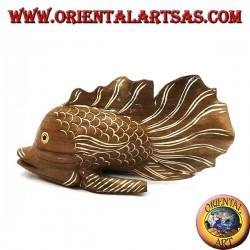 Ручная роспись гофрированной рыбной скульптуры из тикового дерева (натуральный, маленький)