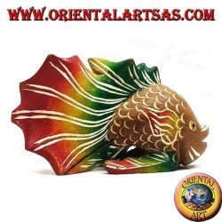 Hand-painted corrugated fish sculpture in teak wood (warm colors, small)