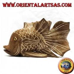 Handbemalte Wellpappenfischskulptur aus Teakholz (natürlich, mittel)