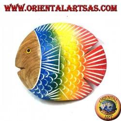Scultura del pesce piatto dipinta a mano in legno di teak (blu, piccolo)