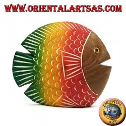 Hand painted flat fish sculpture in teak wood (red, small)