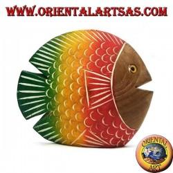Sculpture de poisson plat peinte à la main en bois de teck (rouge, petit)