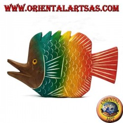 Hand-painted trumpet fish sculpture in teak wood (colored, small)