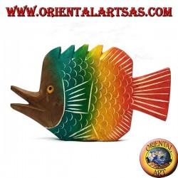 Sculpture poisson trompette peinte à la main en bois de teck (colorée, petite)