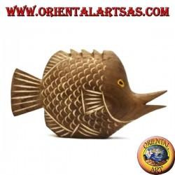 Scultura del pesce trombetta dipinta a mano in legno di teak (naturale, piccolo)