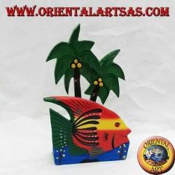 Brief- / Serviettenhalter im hawaiianischen Stil mit Fisch aus Balsaholz (rot, gelb)