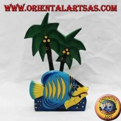 Porte-lettres / serviettes style hawaïen avec poisson en bois de balsa (bleu, jaune)