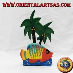 Brief- / Serviettenhalter im hawaiianischen Stil mit Fisch aus Balsaholz (orange, gelb)