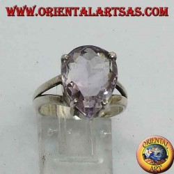 Smooth silver ring with natural drop-shaped amethyst