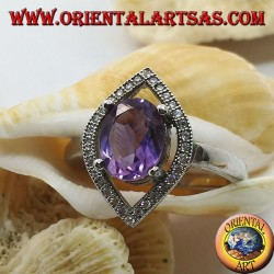 Shuttle silver ring with oval natural amethyst set surrounded by zircons