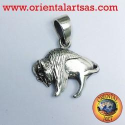 Colgante de bisonte americano en plata
