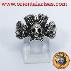 anneau crâne avec moteur aigle Harley Davidson