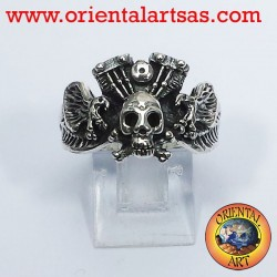 Schädel Ring mit Adler Motor Harley Davidson