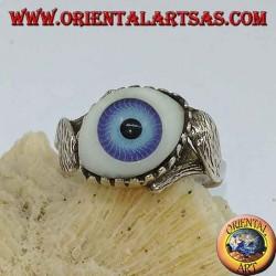 Anello in argento con occhio azzurro in diagonale tra due foglie