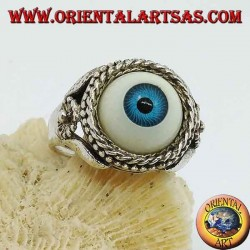Silver ring with large blue eye and flower on the sides