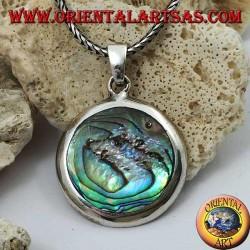 Ciondolo in argento tondo e liscio con paua shell (abalone)