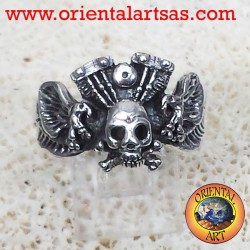 skull ring with eagle engine Harley Davidson