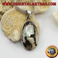 Ciondolo in argento liscio ovale con madreperla maculata