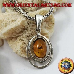 Silver pendant with oval natural amber surrounded by two silver lines