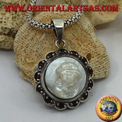 Silver cameo pendant on mother of pearl surrounded by silver and garnet flower