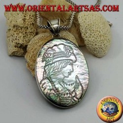 Silver cameo pendant on large oval mother of pearl (abalone)