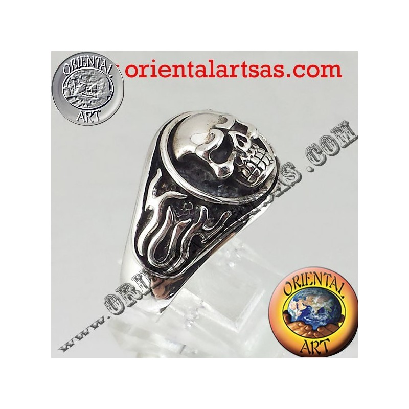 Skull Ring en flammes argent