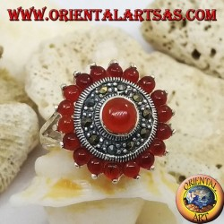 Daisy silver ring with round carnelian surrounded by marcasite and carnelian