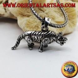 Pendentif tigre mobile en argent tridimensionnel