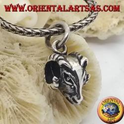 Серебряная подвеска перфорированная голова Овна (маленькая)