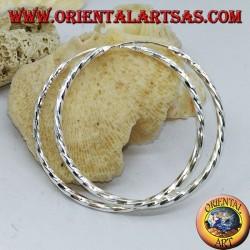 45 mm twisted circle silver earrings. in diameter ⌀