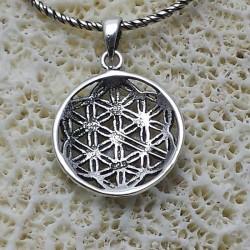 Blume des Lebens Anhänger Silber (Blume mit sechs Blütenblättern )