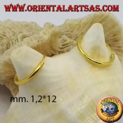 اقراط من الفضة المطلية بالذهب الخالص 12x1.2 ملم.