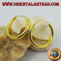 Smooth silver hoop earrings gold plated 25x3 mm.