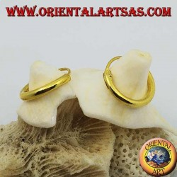 Orecchini in argento a cerchio lisci placcati in oro da 14x2 mm.