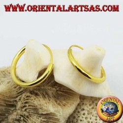 Smooth silver hoop earrings gold plated 18x2 mm.