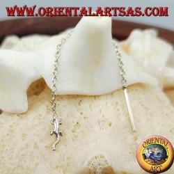 6 cm silver chain earrings with gecko (Gekkonidae)