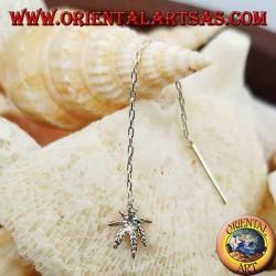 Silver chain earrings with 6 cm marijuana leaf