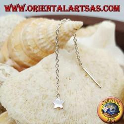 Orecchini in argento a catenina con stella liscia da 6 cm