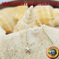 Silver chain earrings with 6 cm rounded star