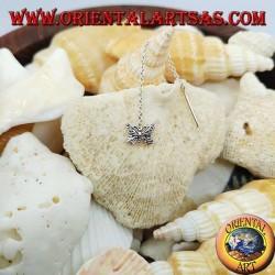 Silver chain earrings with 6 cm stylized butterfly