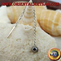 Boucles d'oreilles en argent avec chaîne solaire avec onyx de 6 cm