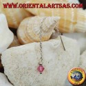 Silver chain earrings with 6 cm pink crystal